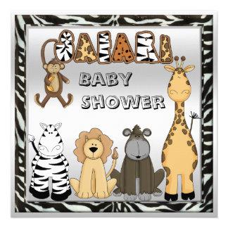 Cute Safari Animals Neutral Silver Baby Shower Invite