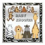 Cute Safari Animals Neutral Silver Baby Shower 5.25x5.25 Square Paper Invitation Card