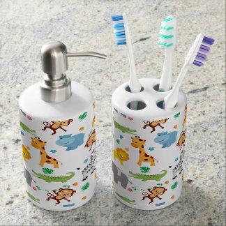 cute safari animals nursery pattern bathroom set