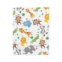 Cute Safari Animals Nursery Pattern Fleece Blanket