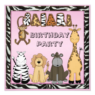 Cute Safari Animals Pink Birthday Party Announcement