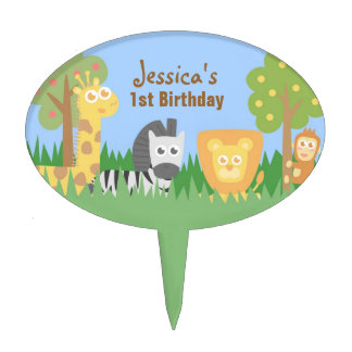 Cute Safari Animals Theme Birthday Party Cake Topper