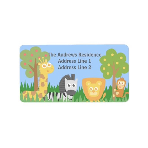 Cute Safari Animals Themed Birthday Party Personalized Address Label