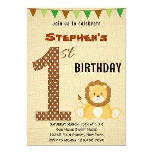 Lion 1st Birthday Invitations Announcements Zazzle