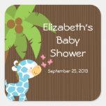 Cute Safari Giraffe Boy Baby Shower Stickers