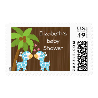 Cute Safari Giraffe Boy Twins Baby Shower Postage