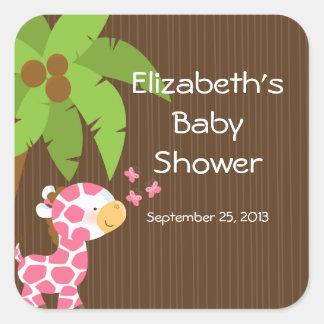 Cute Safari Giraffe Girl Baby Shower Stickers