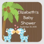 Cute Safari Giraffes Multiple Baby Shower Stickers