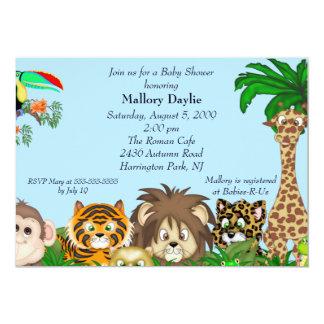 Cute Safari It's A Jungle Boy Baby Shower Personalized Invite