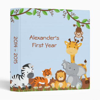 Cute Safari Jungle Animal Baby Boy Photo Album 3 Ring Binder