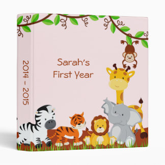 Cute Safari Jungle Animal Baby Girl Photo Album 3 Ring Binder