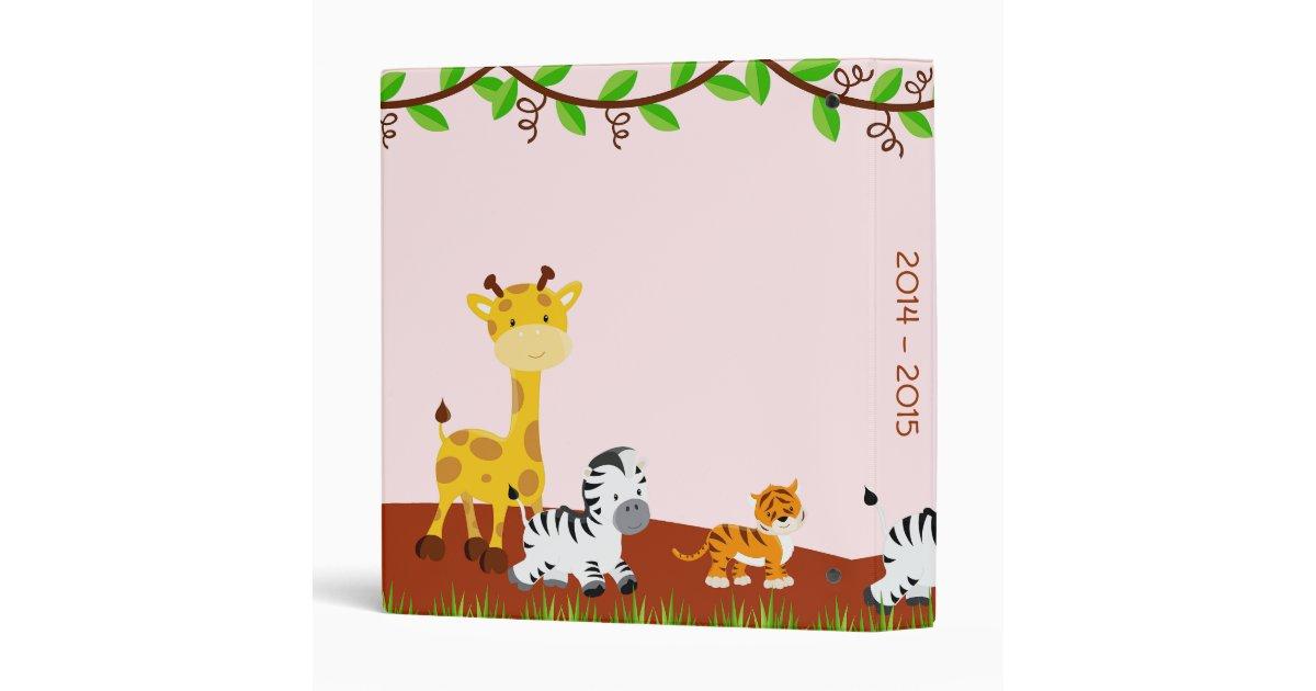 cute safari jungle animal baby girl photo album 3 ring