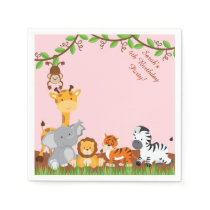 Cute Safari Jungle Animal Birthday Paper Napkins