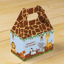 Cute Safari Jungle Animal Boy Gable Favor Box