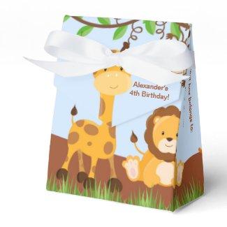 Cute Safari Jungle Animal Boy Tent Favor Box