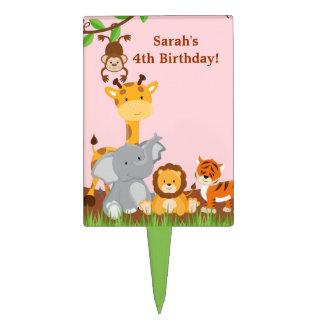 Cute Safari Jungle Animal Girl Birthday Cakepick