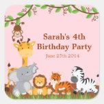 Cute Safari Jungle Animal Girl Birthday Stickers