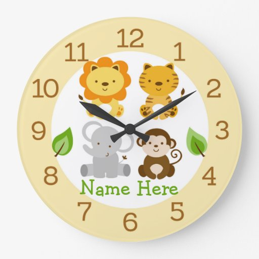 Cute Safari Jungle Animal Nursery Large Clock