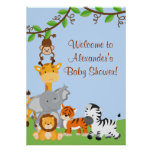 Cute Safari Jungle Animals Baby Boy Shower Poster Poster