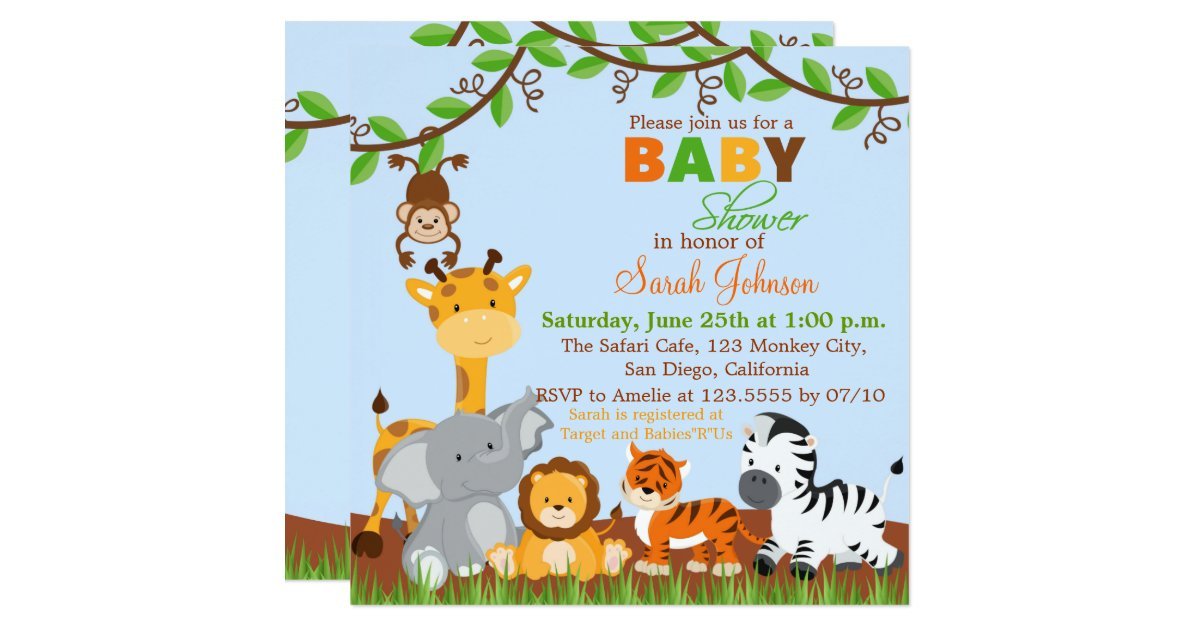 cute safari jungle animals baby shower invitation zazzle