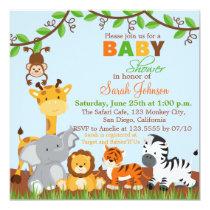 Cute Safari Jungle Animals Baby Shower Invitation