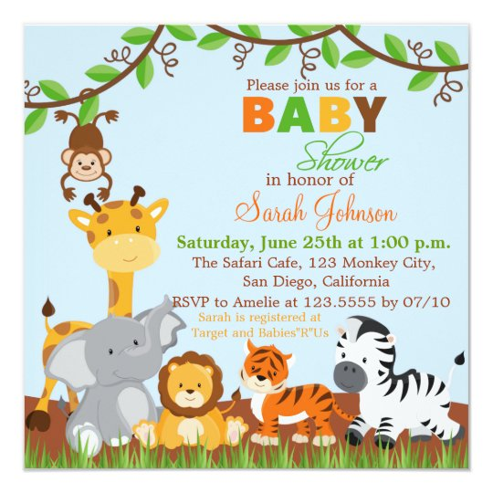 Cute Safari Jungle Animals Baby Shower Invitation Zazzlecom