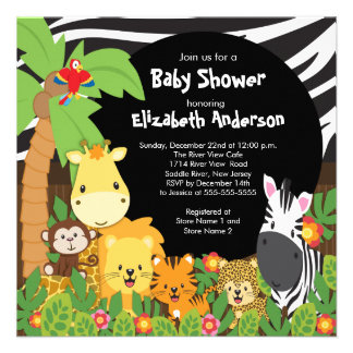 Cute Safari Jungle Animals Baby Shower Invitations