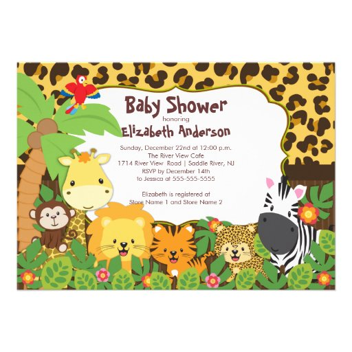 personalized jungle baby shower invitations  custominvitationsu, Baby shower