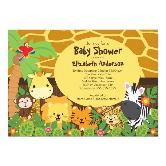 cute safari jungle animals baby shower invitations zazzle