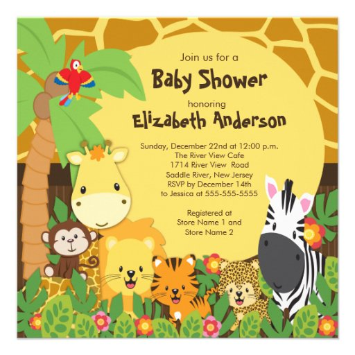 cute safari jungle animals baby shower invitations square