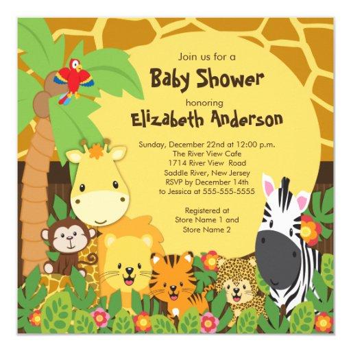 Safari Baby Shower Invitation: Cute Safari Jungle Animals Baby Shower Invitations