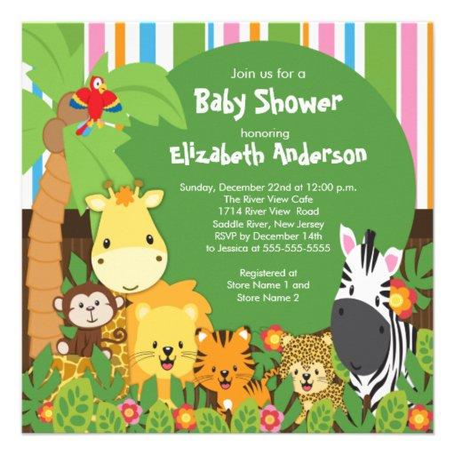 cute safari jungle animals baby shower invitations square