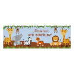 Cute Safari Jungle Animals Birthday Party Banner Poster