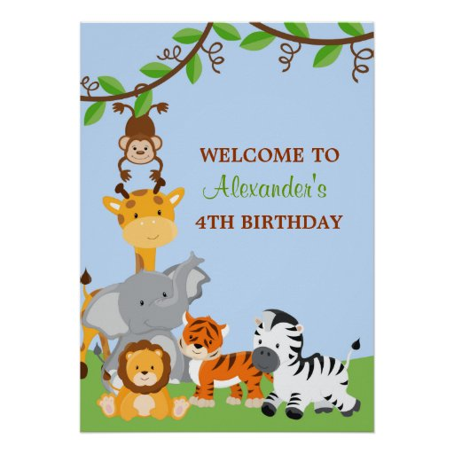 Cute Safari Jungle Animals Birthday Party Banner Print