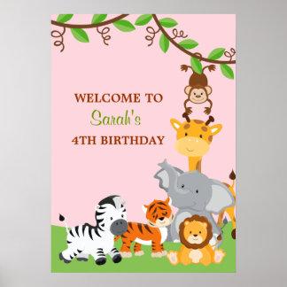 Cute Safari Jungle Animals Birthday Party Poster