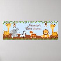 Cute Safari Jungle Animals Boy Baby Shower Banner Poster