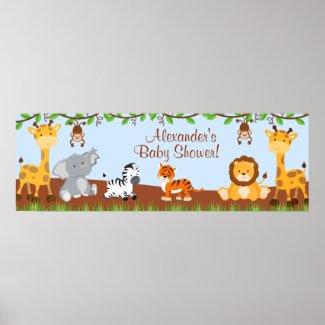 Cute Safari Jungle Animals Boy Baby Shower Banner Posters
