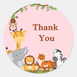 Cute Safari Jungle Animals Girl Thank You Sticker