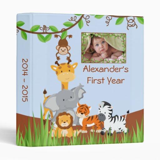 cute safari jungle baby animal boy photo album binder
