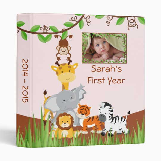 cute safari jungle baby animal girl photo album binder