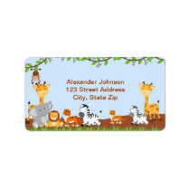 Cute Safari Jungle Baby Animals Address Label