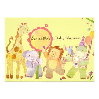 Cute Safari Jungle Baby Animals: Baby Shower Custom Invites