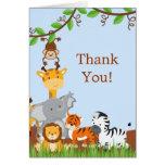 Cute Safari Jungle Baby Animals Thank You Card Note Card