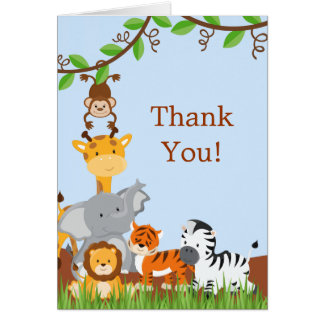 Cute Safari Jungle Baby Animals Thank You Card