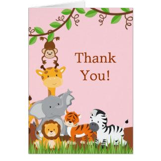 Cute Safari Jungle Baby Animals Thank You Card