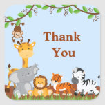 Cute Safari Jungle Baby Animals Thank You Sticker