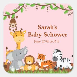 Cute Safari Jungle Baby Girl Shower Stickers Square Sticker