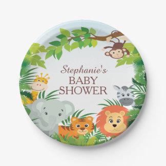 "Cute Safari Jungle Baby Shower 7"" Plate"