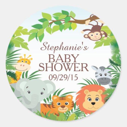 Cute Safari Jungle Baby Shower Favor Sticker