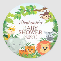 Cute Safari Jungle Baby Shower Favor Sticker